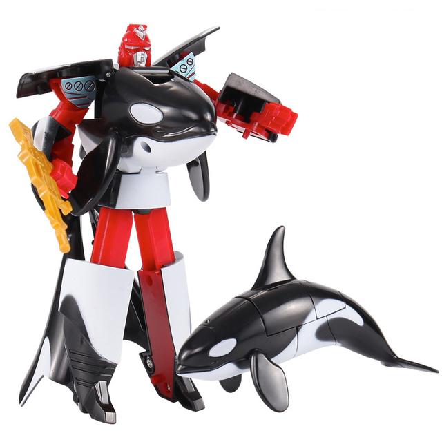 Transformacja życie morskie zabawkowe roboty zabójca wieloryb delfin żarłacz biały rekin deformacja plastikowe chłopcy figurka zabawki dla dzieci