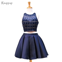 Sparkly 8th Grade Prom Dresses Cute A line Scoop Neckline Beaded Sweet 16 Short Navy Blue Two Piece Homecoming Dresses 2019