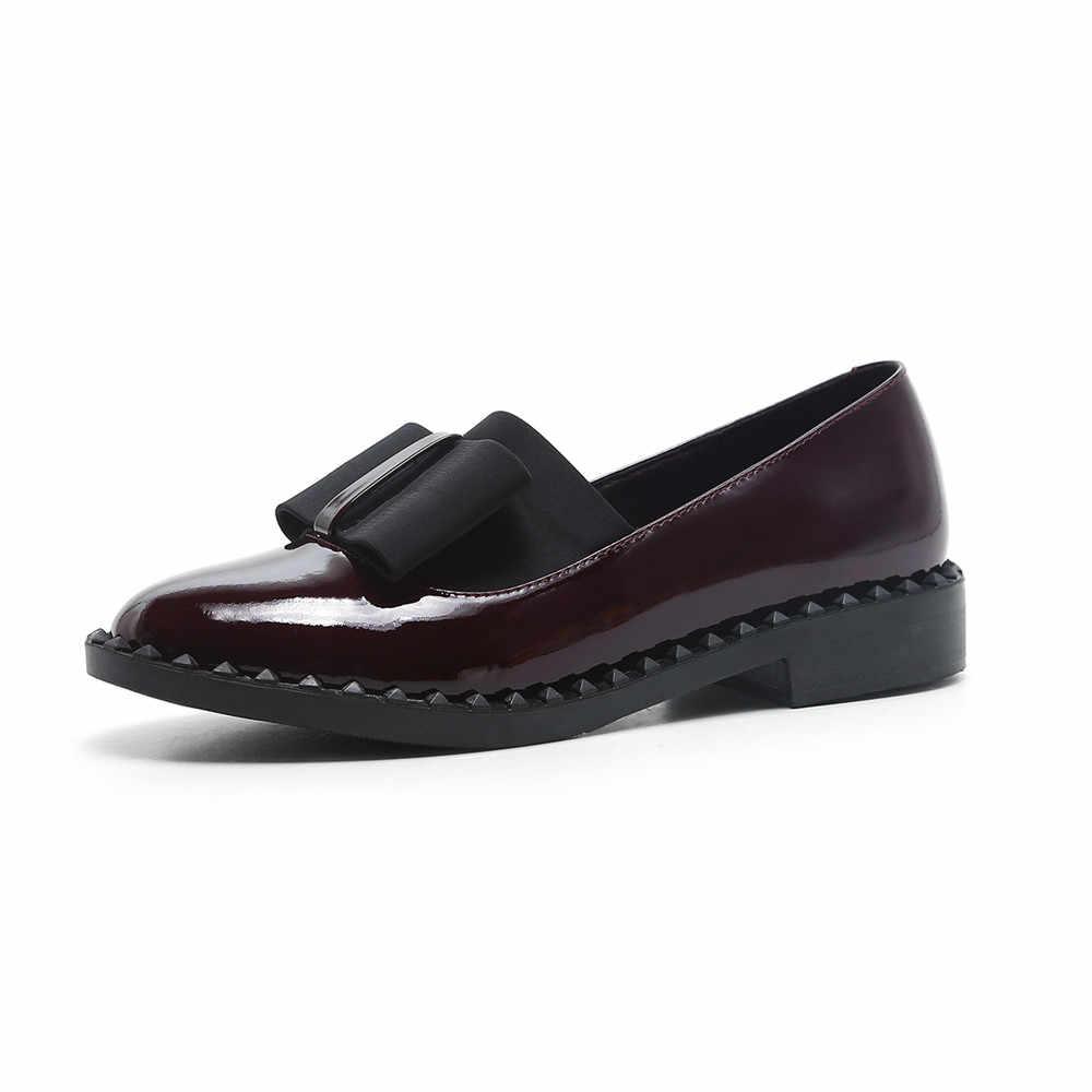 Volledige Echt Leer Vrouwen Loafers met Boog Slip Op Flats Casual Schoenen Platte Schoenen Vrouwen Zwart Wijnrood 34- 40 AM10 MUYISEXI