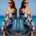 2016 Новых Горячих Женщин Платья Цветочный Узор Печати платье Мода спагетти ремень платье Летом Пляж Сексуальные мини-Платья