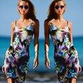 2016 Nuevas Mujeres Calientes Vestido Estampado de Flores de Impresión vestido de La Manera correa de espagueti de la Playa del Verano Del vestido Sexy mini Vestidos