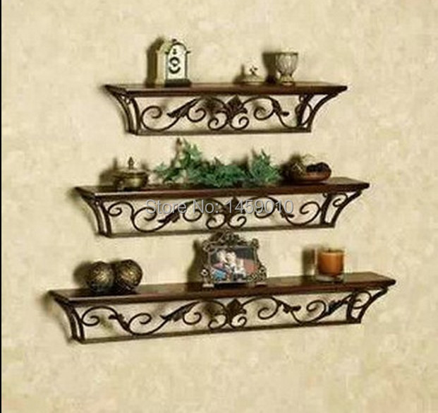 Free Shipping On Sale Wrought Iron Retro Living Room Shelf Include Wood Bookrack Bathroom