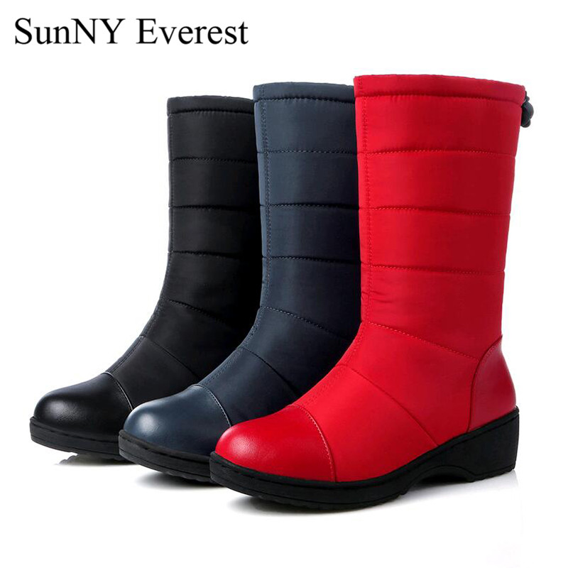 New SunNY Everest shoes woman winter plush mid-calf slip-on snow boots Down boots women black red blue35-44 us12 13 double buckle cross straps mid calf boots