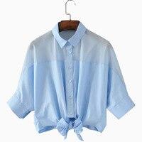 2017 Лето Осень Элегантный Дизайн Лук Женщины Блузка Случайные Свободные Голубой Рабочая Одежда Рубашки Прозрачные Топы Одежда Blusa
