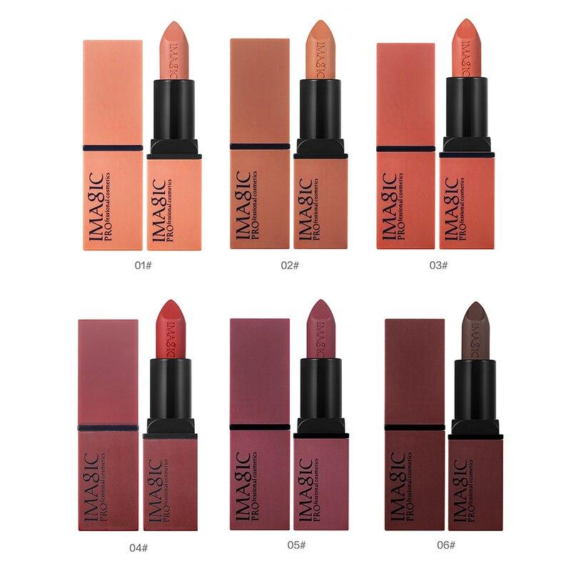 Imagic Velvet Matt Lipstick Make Up 6 Colos Pigment Långvarig Batom Red Nude Vattentät Lipsticks Skönhet Lip Coametic Makeup