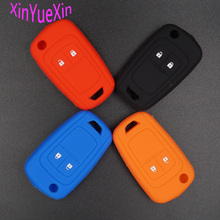 Xinyuexin Silicone Car Key Cover FOB Case For Chevrolet Cruze 2Button Flip Remote Key Case Jacket Keychain Car-stying