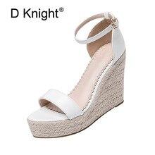 Sandálias femininas tamanho 32 44, com dedo aberto, branco, de couro pu, salto alto, quente, preta, tornozelo tamancos para moças sapatos plataforma