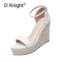 Size 32 44 Wedges Women Sandals Open Toe White Pu Leather High Heel Pumps Hot Black Flock Ankle Strap Wedges Lady Platform Shoes
