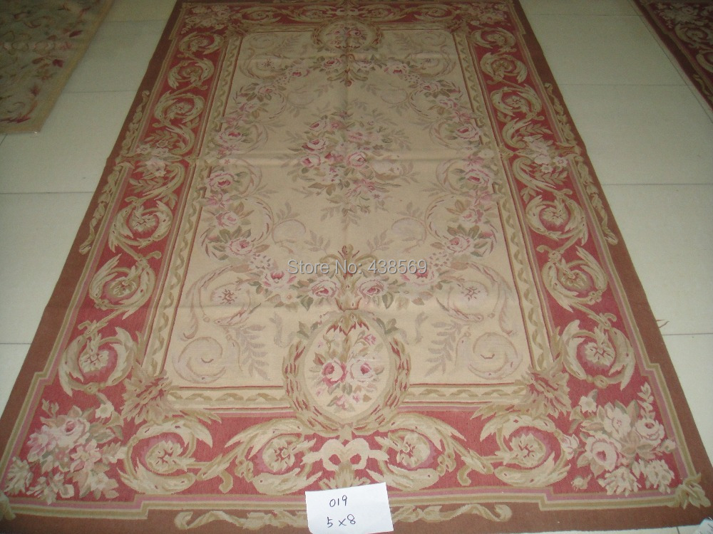 Free Shipping 5 X8 French Woolen Aubusson Rug Handmade