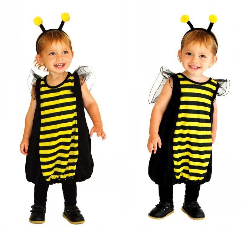 Хэллоуин вечерние Для детей животных Bumble Bee ошибки маскарадный костюм для девочек Пу ...