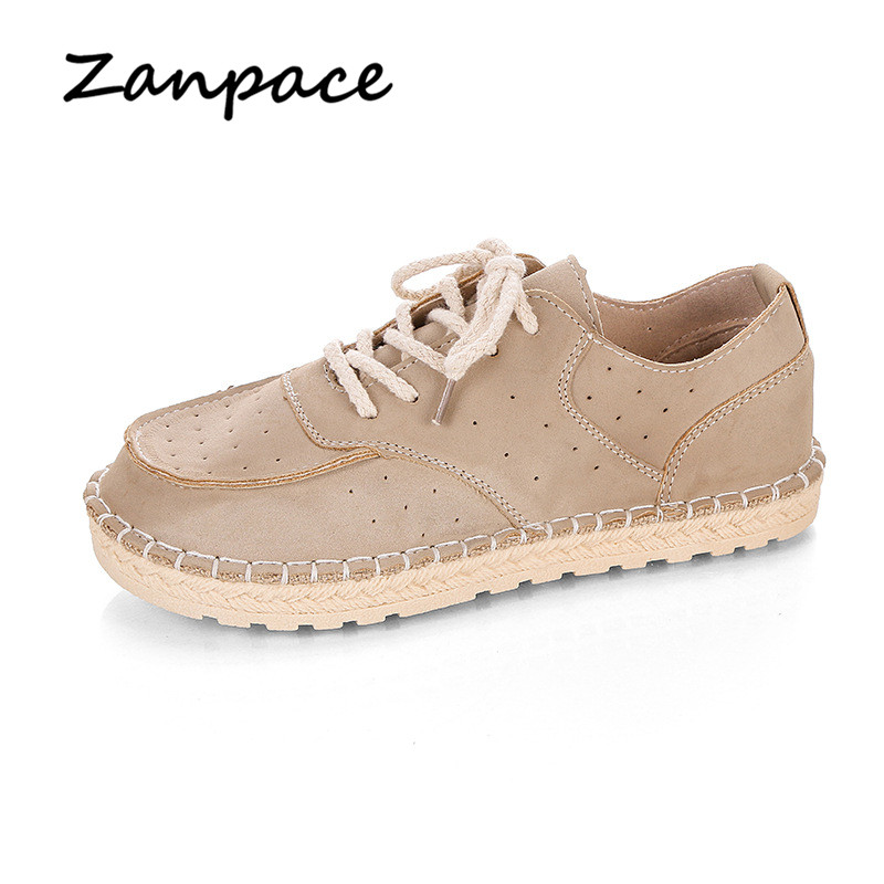 Breathable   Leather   Flats Women 2019 Casual Loafers Spring Autumn Womens Shoes Japanese Lace-Up Slip on   Suede   Shoes Moccasins