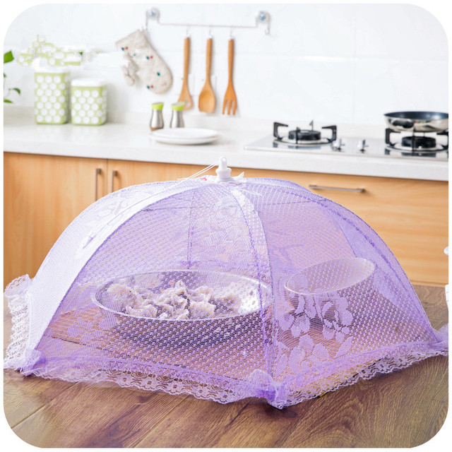 1pc Anti Fly Round Folding Table Cover Food Dish Dinner Umbrella Net