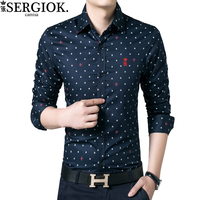 Dudalina Brand Sergio K Camisa Social Masculina Cotton Long Sleeve Casual Shirt Floral Print Embroidery Men