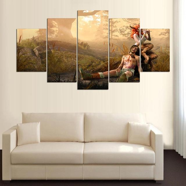 5 Panel Canvas Painting Wall Art Frame Print Poster The Witcher 3 ...