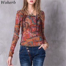 Woherb Vintage Ethnic Style Women T shirt Autumn New Print Slim Long Sleeve Cotton Linen T-shirt Plate Button T-shirts 73391
