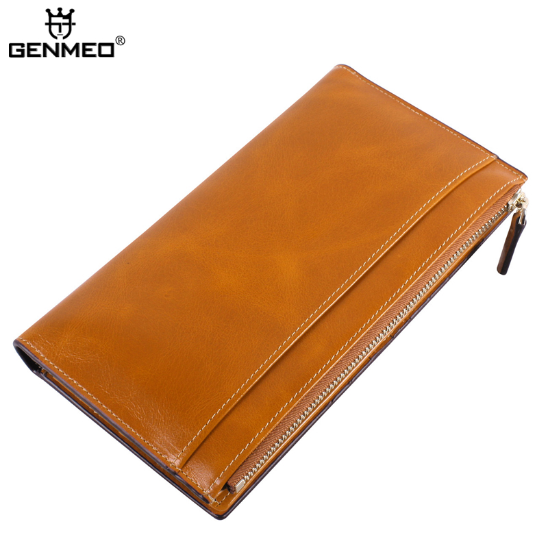 New Arrival Famous Brand Design Genuine Leather Wallets Vintage Cow Leather Wallet Women Fashion Clutch Bags Coin Purse Bolsa