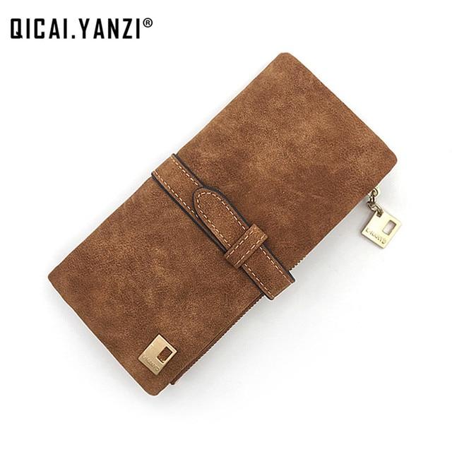 QICAI.YANZI Rushed Lady Bag Women Wallets Purse Matte Drawstring Nubuck Handbags Leather Zipper Long Two Fold Clutch Card Holder