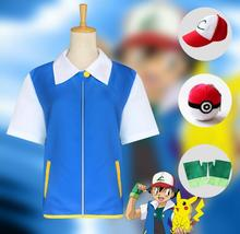 Pokemon Go Pocket Monster Ash Ketchum Trainer Costume Cosplay Shirt Jacket + Gloves + Hat + Ball