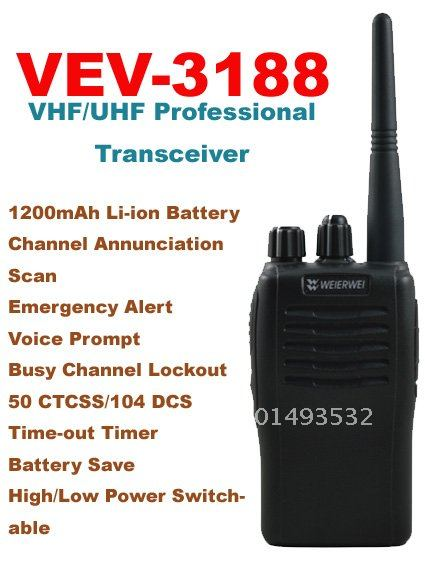 High Quality VHF:136-174MHz/UHF:400-470MHz WEIERWEI VEV-3188 Single Band Portable Two-way RadioHigh Quality VHF:136-174MHz/UHF:400-470MHz WEIERWEI VEV-3188 Single Band Portable Two-way Radio