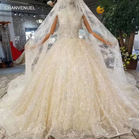 LSS339 tank style wedding gown with wedding veil deep v neck sleeveless sparkly wedding dresses champagne with shiny long train