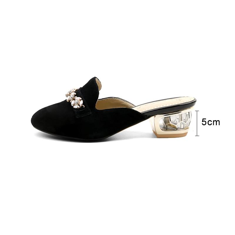 Rond Plus Noir Femmes Strass Étrange Talon Pantoufles Mules Kcenid Pompes Taille 33 Bout Chaussures Nouveau Mode Dames brown Troupeau Noir Bq55Z