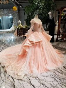 Image 5 - HTL046 International new design wedding dresses with peplum o neck long sleeves ball gown sukienka na wesele dla gościa
