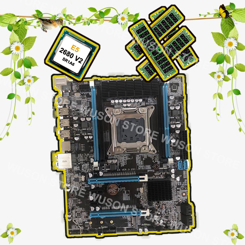 Computer DIY Runing X79 motherboard with M.2 slot brand motherboard with CPU <font><b>Intel</b></font> Xeon <font><b>E5</b></font> <font><b>2680</b></font> <font><b>V2</b></font> <font><b>SR1A6</b></font> RAM 32G 1600 REG ECC image
