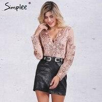 Simplee Apparel Golden Sequin Mesh Bodysuit For Women Transparent Sleeve Leotard Bodysuit Top V Neck Elegant