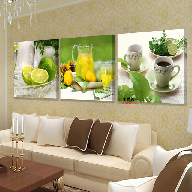 3 Panel Modern Canvas Painting Fruit Picture Wall Art Pictures For ...