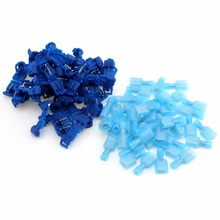 100pcs T Tap Insulated Electrical Cable Spade Crimp Terminal Quick Splice Wire Connector 40pcs blue t tap insulated quick splice wire terminal spade crimp connector combo set 2 5 4 0mm2 awg 16 14