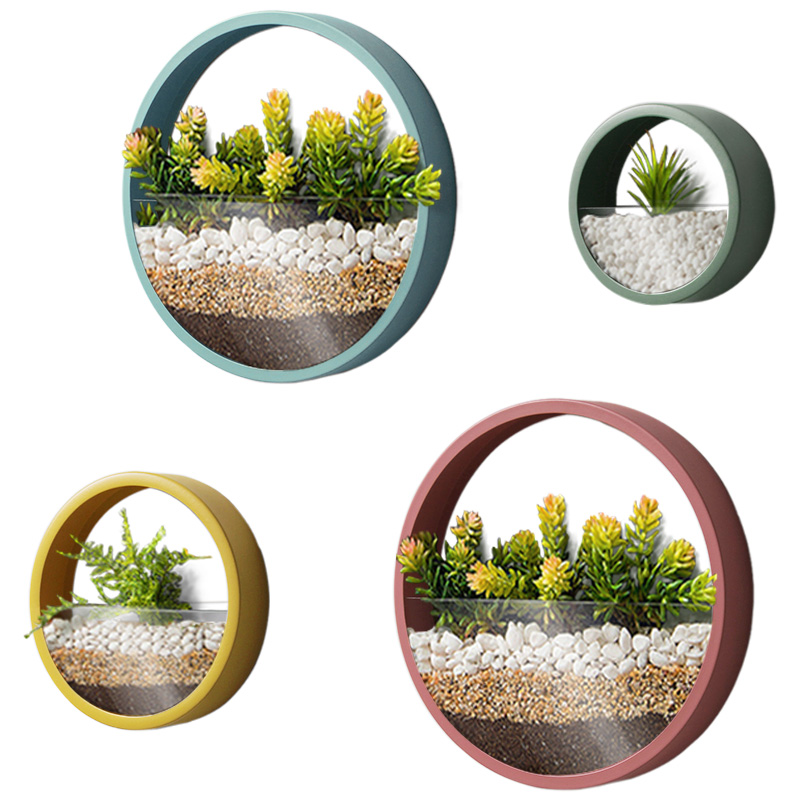 Creative Iron Art Wall Vase Solid Color Modern Hanging Decor Crafts / Artificial Flower Colored Stone Holder Bonsai Flower Vases 6