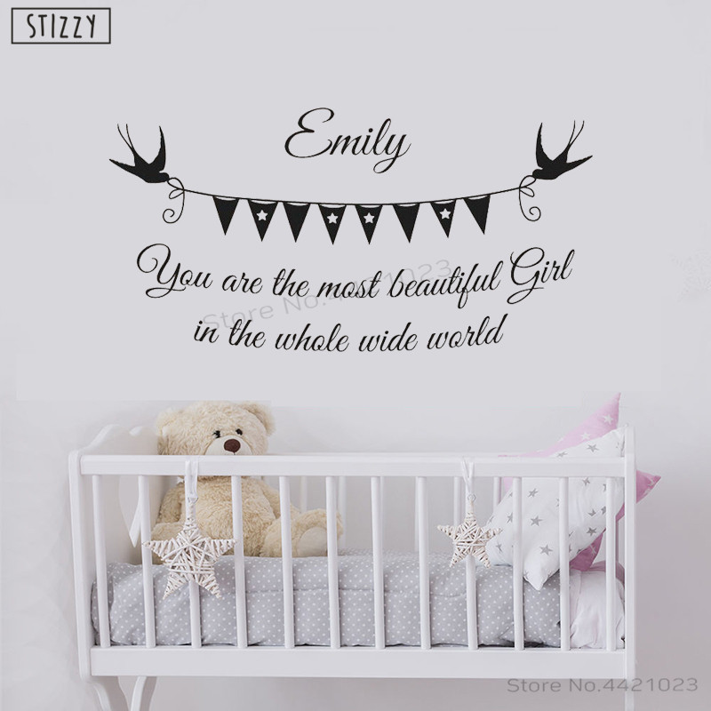 US $6.47 28% OFF STIZZY Wall Decal Cartoon Personalized Name Wall Sticker  Quotes Most Beautiful Girl Wide World Baby Nursery Bedroom Decor B337-in ...