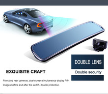 Dual lens dvr mirror blue mirror 4.3″ TFT DV700 Car dvr mirror camera HD 1080P with G-sensor H.264 rearview mirror camera