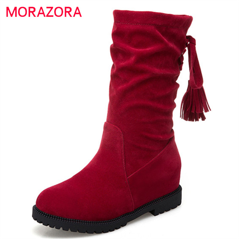 MORAZORA 2018 plus size 34-43 ankle boots for women flock autumn winter boots round toe fashion casual shoes ladies boots MORAZORA 2018 plus size 34-43 ankle boots for women flock autumn winter boots round toe fashion casual shoes ladies boots