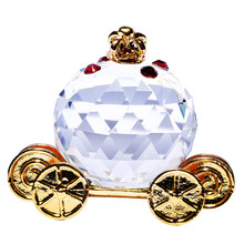 H&D X'mas Gifts Crystal Pumpkin Carriage Figurines Paperweight Crafts Art&Collection Car Ornaments Souvenir Home Wedding Decor