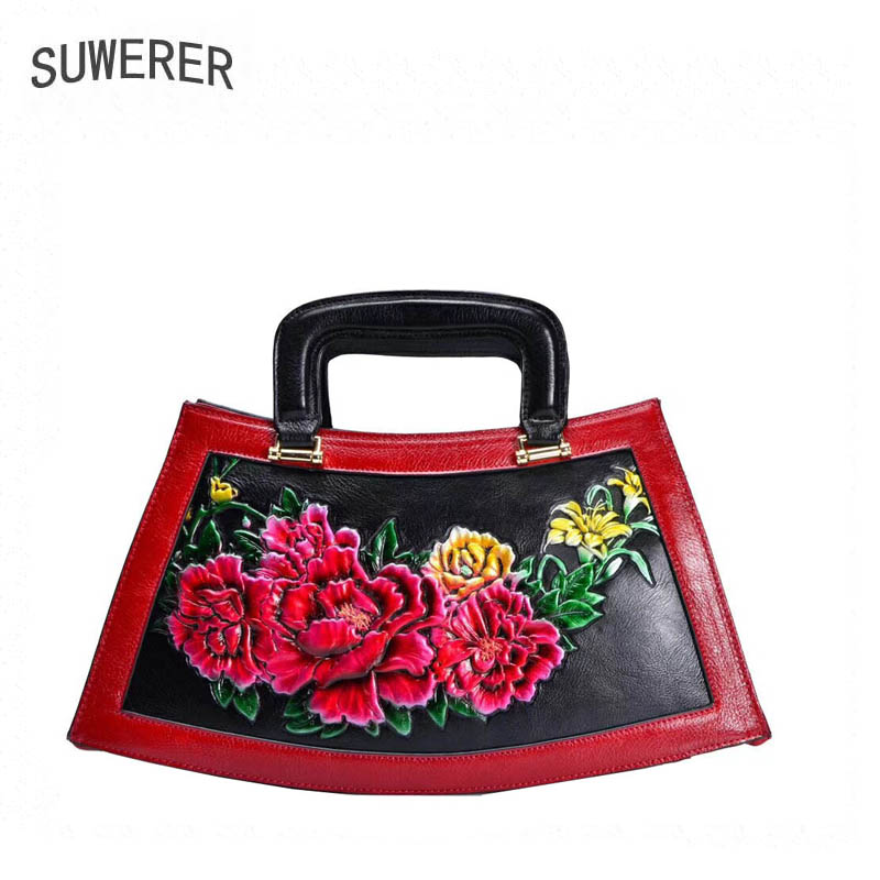 SUWERER women genuine leather bags 2018 new fashion Handmade drawing Flowers Top cowhide luxury designer women leather handbags suwerer women genuine leather bags 2018 new fashion handmade drawing plum flower top cowhide luxury designer women leather bags
