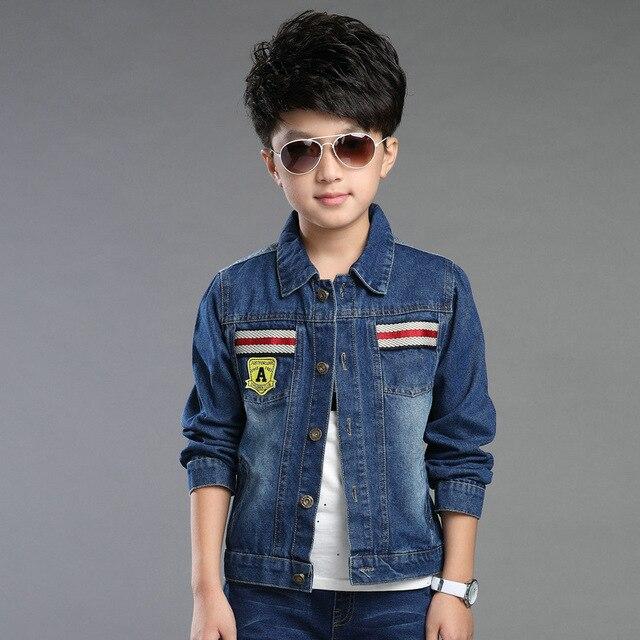 c35e7020fd4d Children Clothes Big Boys Spring Autumn Denim Coat Cool Fashion Style  Printed Letter Jacket Teenager Outerwear Cowboy Tops 095