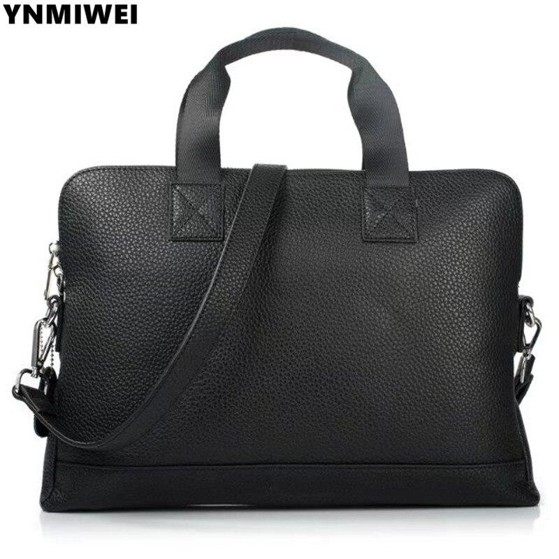 YNMIWEI Genuine Leather bag Business Men Messenge bags For Apple Macbook Air 13.3 Shoulder Bag Laptop Briefcase