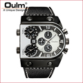 Guangzhou Oulm Watch Leatheroid  Belt Aanalog Colorful Quartz PC21 Multi Time Zone Watch Promotion