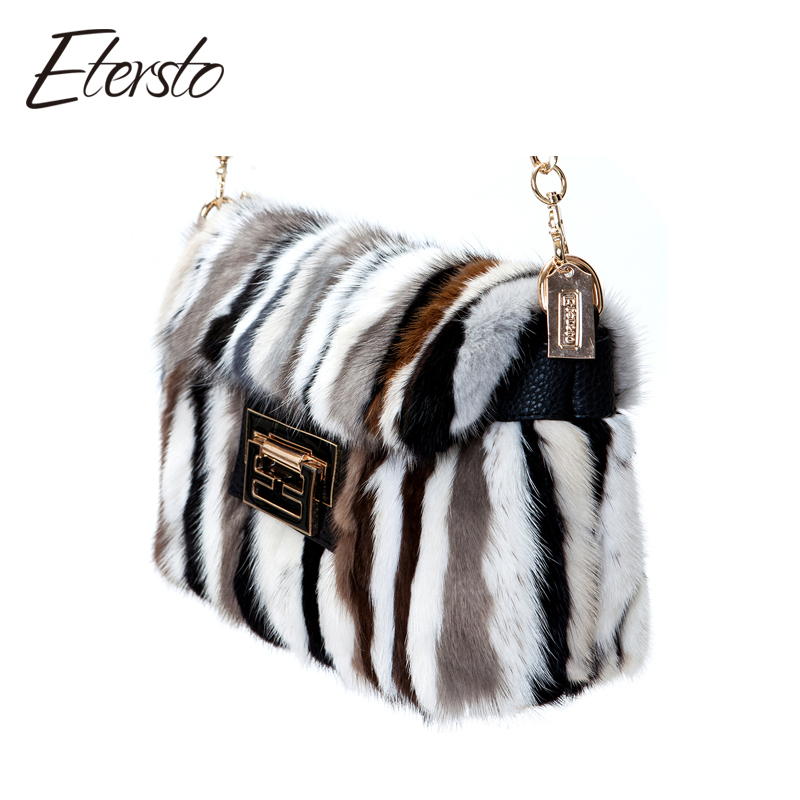 Etersto Brand Women Mink Fur Leather Messenger Bags Fashion Solid Female Flap Bags High Quality Ladies Crossbody Bags