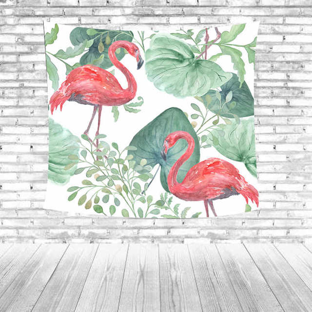 R3614 20 De Desconto2018 Hot Flamingo Imprimir Tapeçaria Plantas Verdes Flores Palma Decoração Da Parede Sala De Estar Sofá Toalha De Mesa Folhas