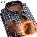 Langmeng 2016 Nueva Camisa de Vestir de Algodón de Manga Larga Slim Fit Camisas de Los Hombres de Terciopelo Cálido Invierno Casual Camisas Para Hombre Camisa Masculina