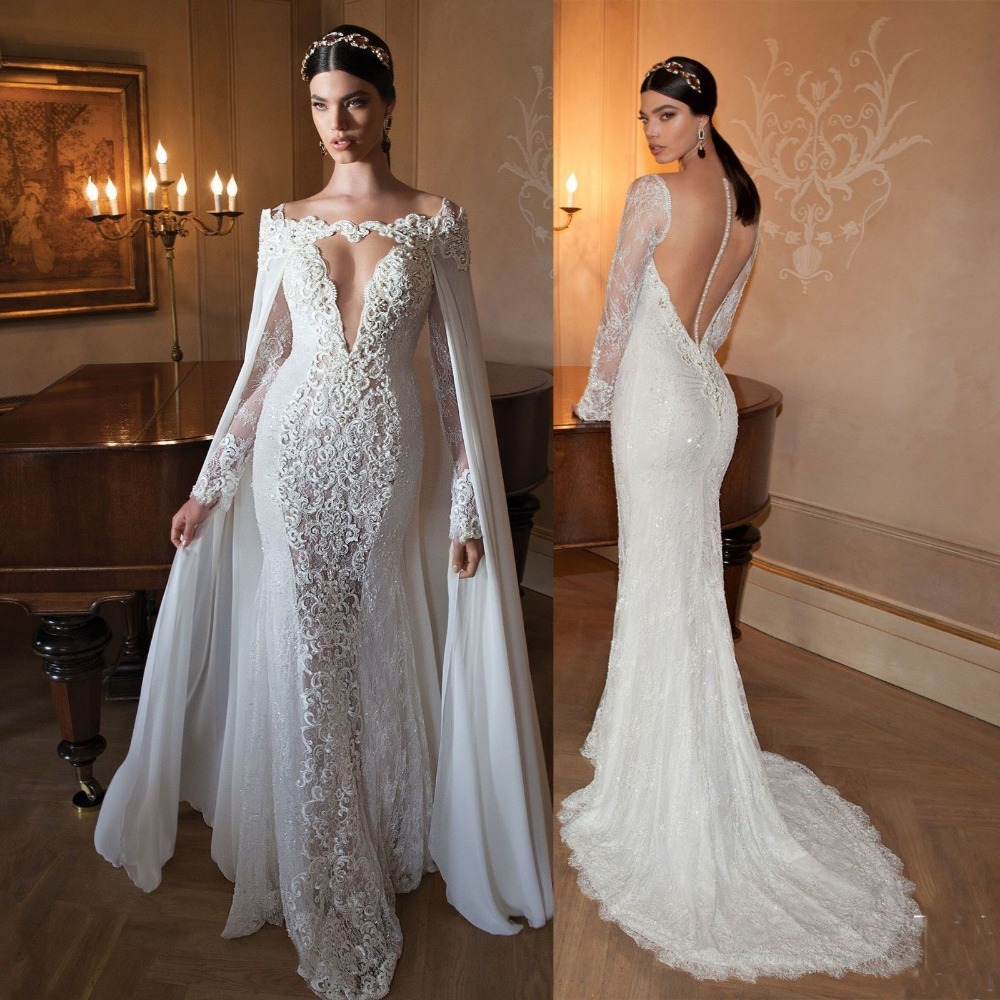 0e9579dba2a27 Sexy V Neck Lace Long Sleeve Lace Wedding Dresses with Detachable Train  White Ivory Vestido De Noiva Bridal Gown Custom Make-in Wedding Dresses  from ...