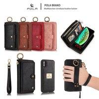 Luxury Zipper Flip Folio Detachable Magnetic Leather Pouch Card Holder Wallet Case for Apple Iphone Xs Max X Xr 7 8 6 6s Plus 10