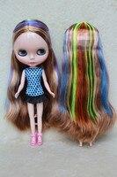 Blygirl Blyth muñeca muñecas Desnudas color mezclado del pelo recto 30 cm cuerpo ordinario muñecas de BRICOLAJE para el maquillaje puede reemplazar el multi-articular cuerpo