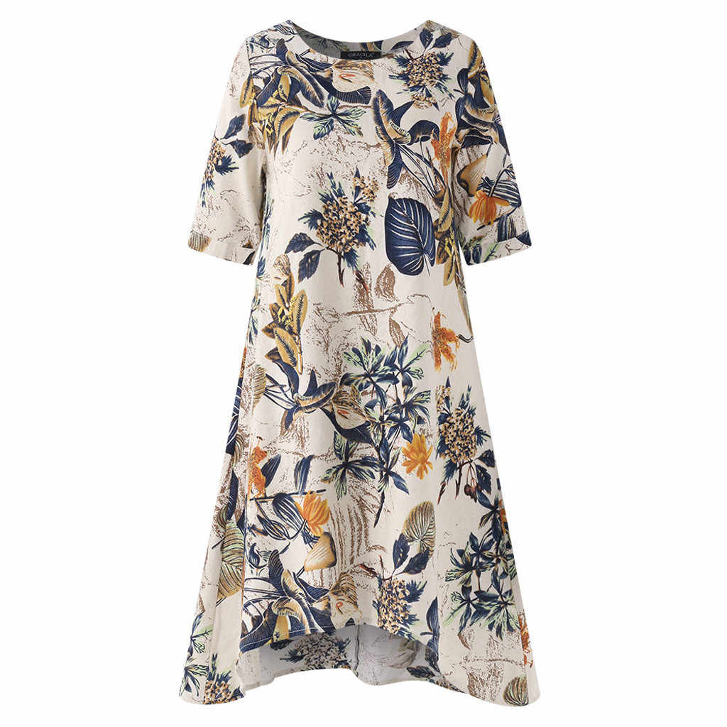 CHAMSGEND Dress Women Short Sleeve Loose Linen Dresses Casual Floral Printed O-Neck Short Vestido Irregularity Plus Size 14DEC30