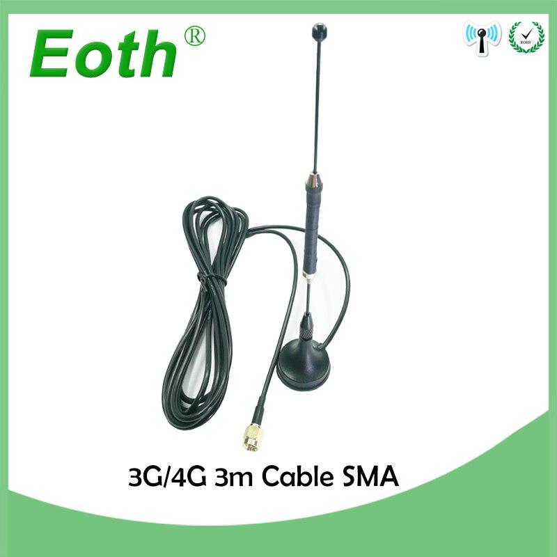 2 pcs/lot 4G 10dbi Antenne LTE 3g 4g lte Antenne 698-960/1700-2700 Mhz avec base magnétique SMA Mâle RG174 3 M Clair Sucker Antenne