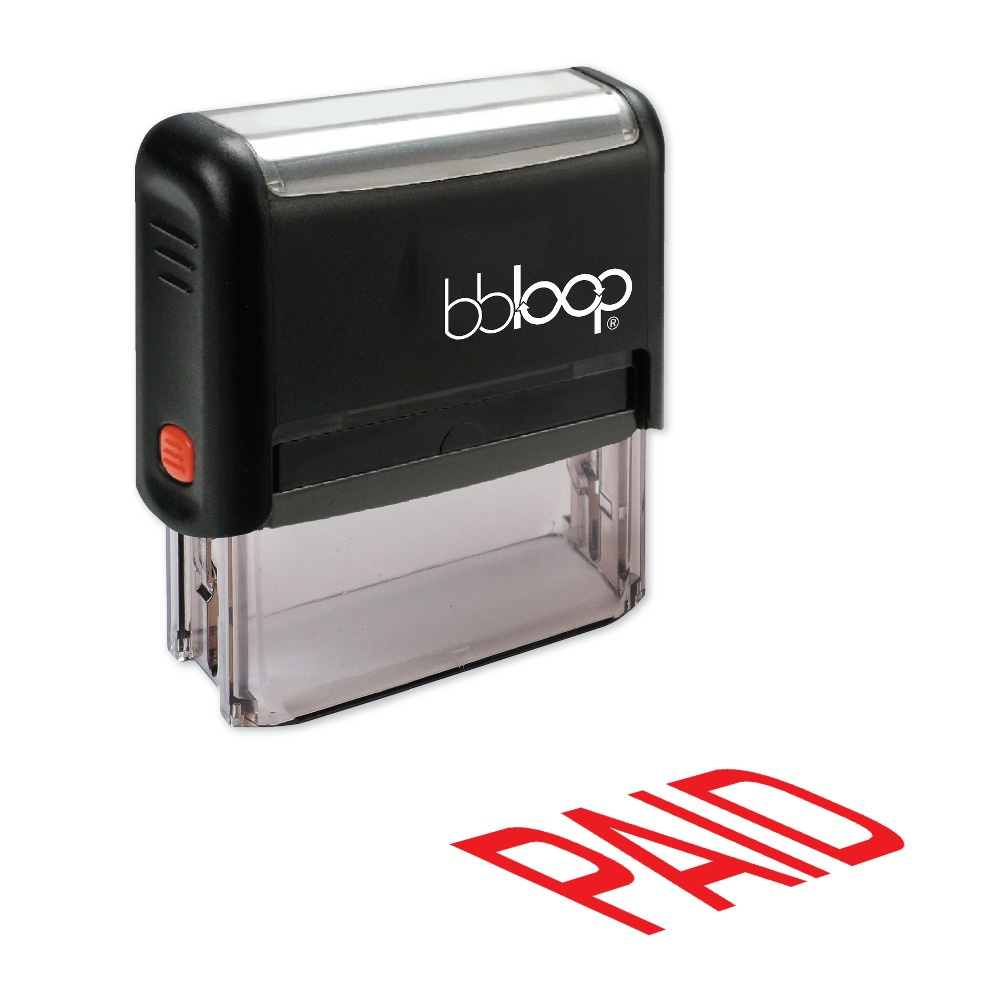 BBloop PAID Self-Inking Stamp, Rectangular, Laser Engraved, RED/BLUE/BLACK 10 digit 9 wheels gray light blue rubber band self inking numbering stamp