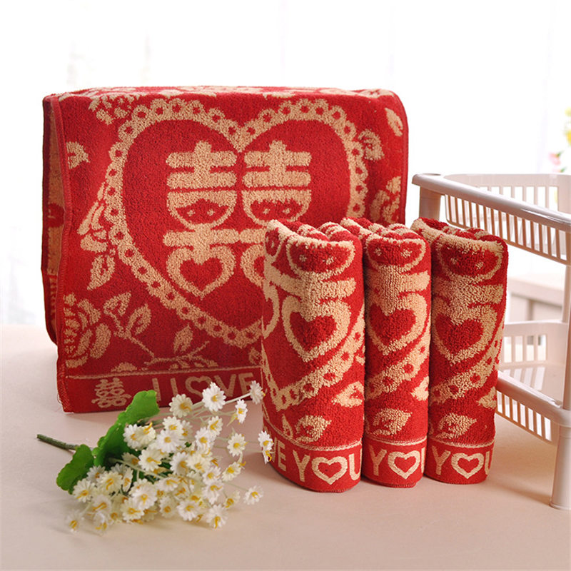 Rose Embroidered Towels: China Is 100% Cotton Embroidered Rose Red Towel-in Face