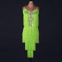Weiblichen Quaste Kristalle Latin Dance Kleid Für Frauen Sequin Latin Dance Wettbewerb Kostüme erwachsene